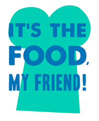 It's the food, my friend! logo